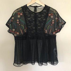 ZARA BASIC embroidered plumetis blouse